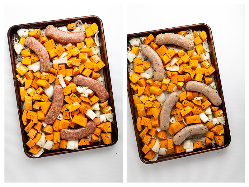Photo collage showing sausages and vegetables before and after cooking for 20 minutes.
