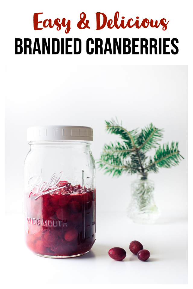 Jar of brandied cranberries with a few cranberries and a pine sprig with text overlay.