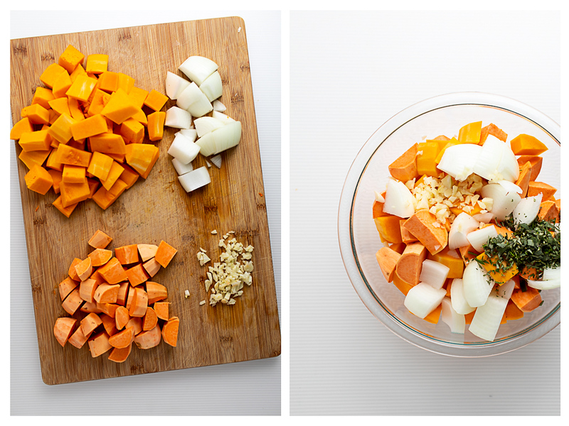 Photo collage with butternut squash, sweet potatoes, onions and garlic on a cutting board and then in a bowl.