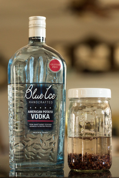 Blue Ice Vodka and Cocoa Nibs for Homemade Chocolate Liqueur