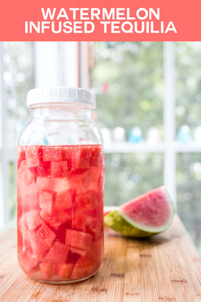 Jar filled with liquid and watermelon cubes with text overlay reading Watermelon Infused Tequila