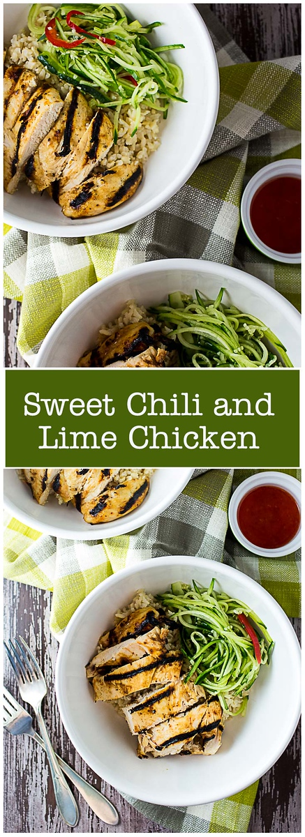 Sweet Chili and Lime Chicken - chili sauce makes this chicken and shredded cucumbers so delicious and easy!