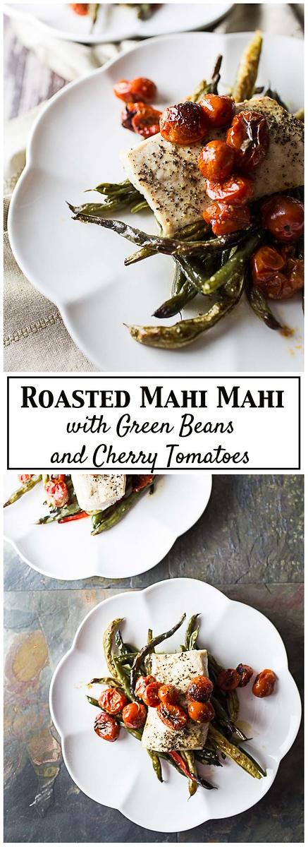 An easy one sheet pan dinner of Roasted Mahi Mahi with Green Beans and Cherry Tomatoes.