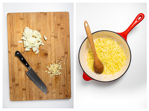 Photo collage showing onion and garlic minced and then in a skillet.