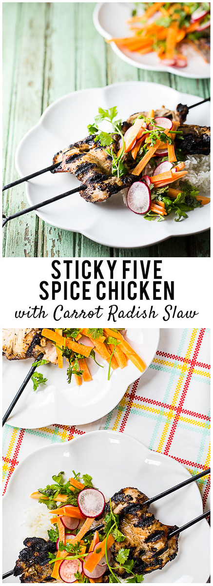 Sticky Five Spice Chicken with Carrot Radish Slaw