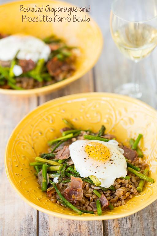 Roasted Asparagus and Prosciutto Farro Bowls