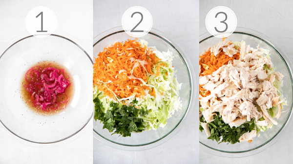 Photo collage showing the steps to making a Vietnamese Chicken Salad