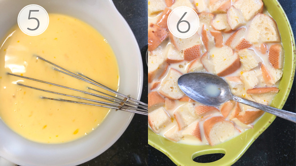 Photos showing steps 5 and 6 for making the bread pudding.