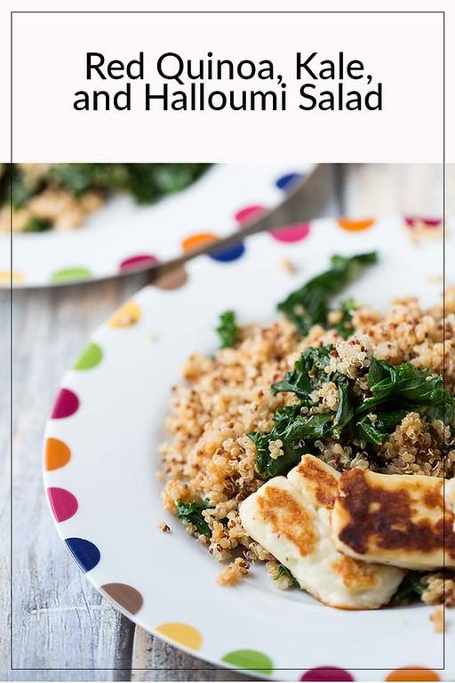 Plate of salad with text Red Quinoa, Kale and Halloumi Salad