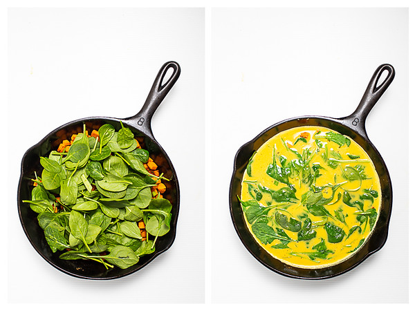 Photo collage showing spinach and eggs added to a frittata in a cast iron skillet.