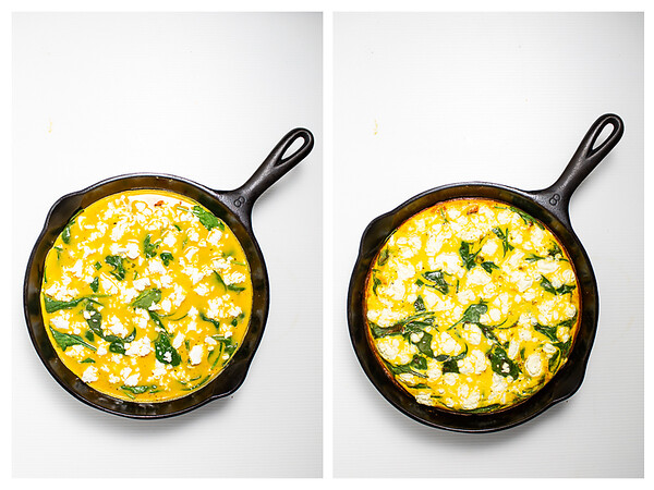 Photo collage showing frittata with goat cheese before and after cooking.