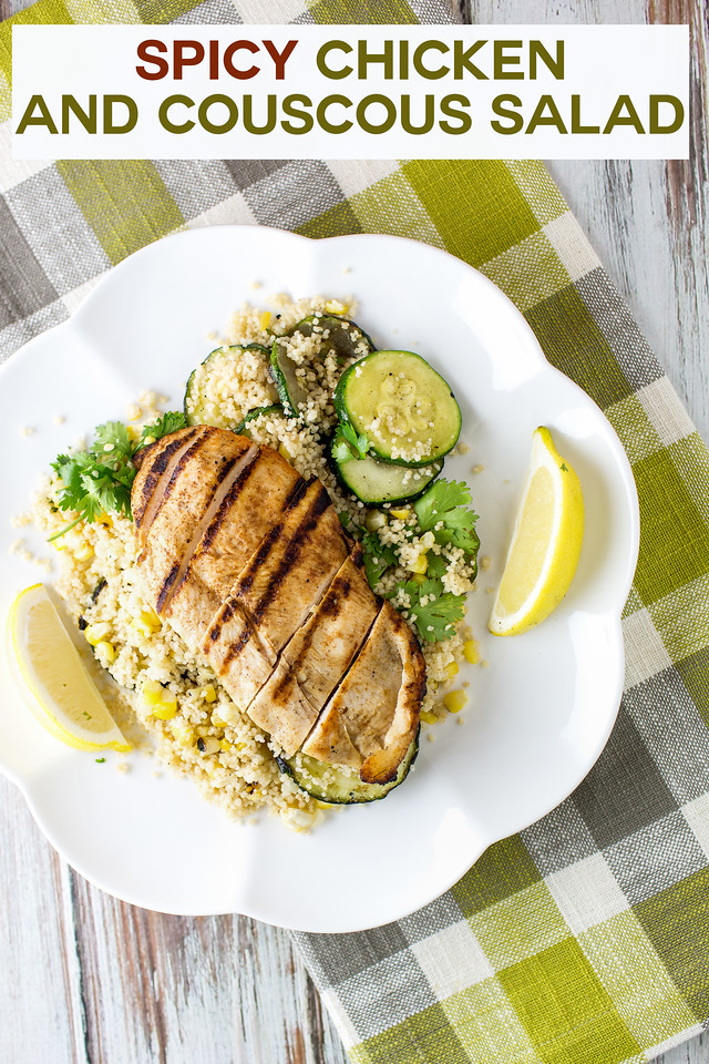Grilled Chicken on top of a couscous salad with text overlay reading Spicy Chicken and Couscous Salad