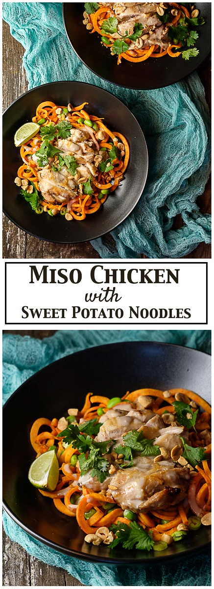 Miso Chicken with Sweet Potato Noodles - miso glazed chicken rests atop spiralized sweet potatoes and edamame. Topped with cilantro, cashews and a coconut miso dressing.