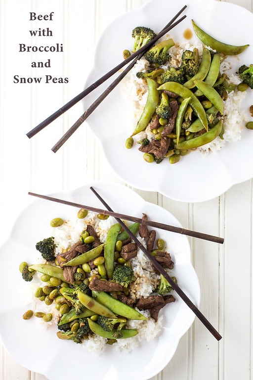 Beef with Broccoli and Snow Peas and Edamame