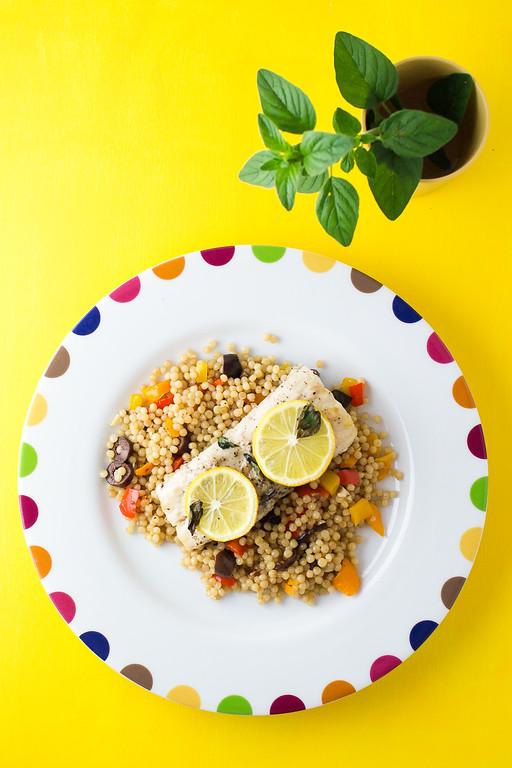 Mahi Mahi with Olive & Bell Pepper Couscous