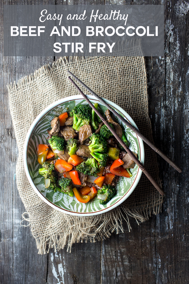 Bowl of beef and broccoli stir fry with red bell peppers with chopsticks on a wooden background and text overlay.