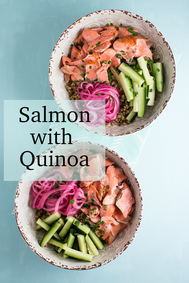 Two grain bowls with text overlay reading salmon with Quinoa