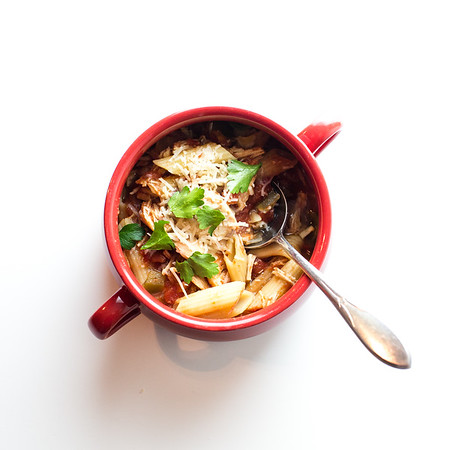 Bowl of Slow Cooker Chicken Parmesan Soup