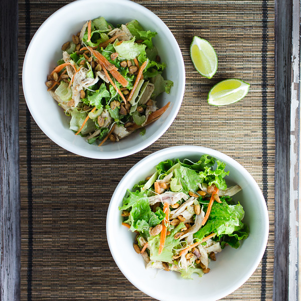 Two bowls of thai chicken salad