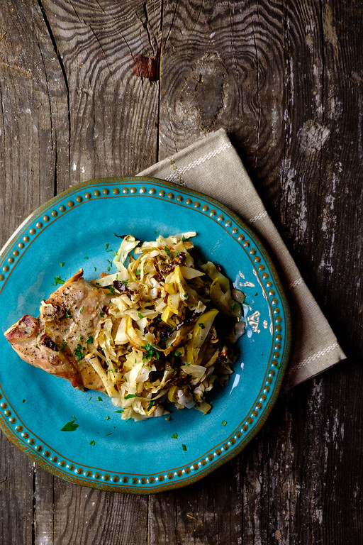 Pork Chops with Apple Cabbage Slaw