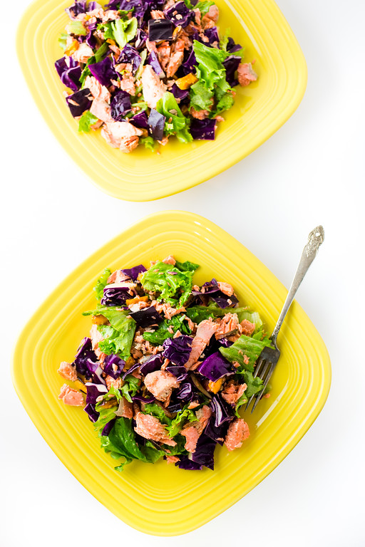 Roasted Salmon Salad with butternut squash and purple cabbage