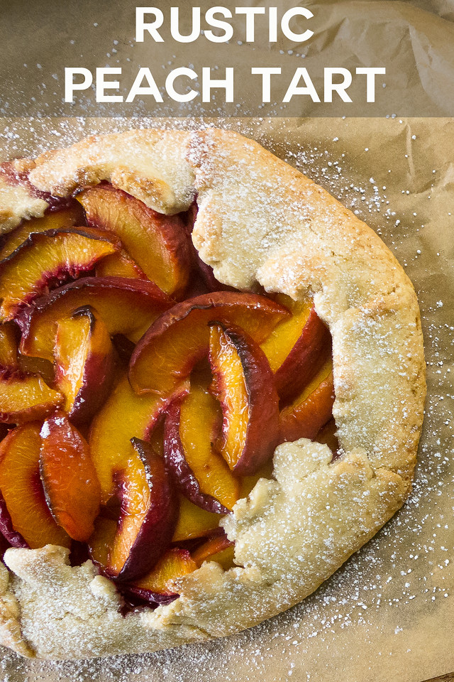 peach tart with text reading Rustic Peach Tart