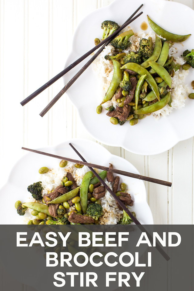 Plate of beef and broccoli stir fry with text overlay reading Easy Beef and Broccoli Stir Fry