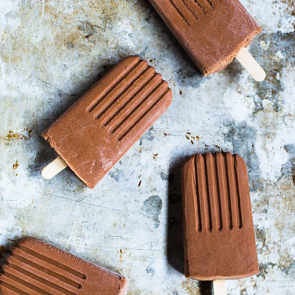 Close up of chocolate bourbon popsicles.