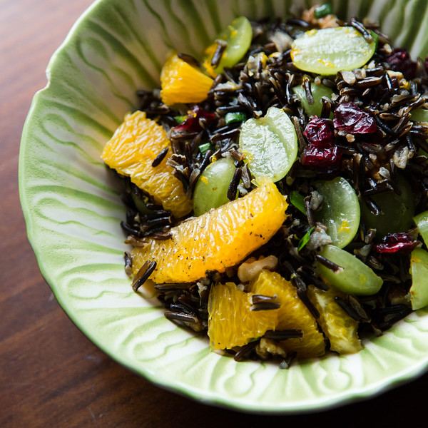Close up of a bowl of wild rice salad