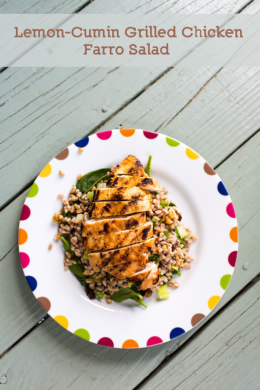 Lemon-Cumin Grilled Chicken Farro Salad.