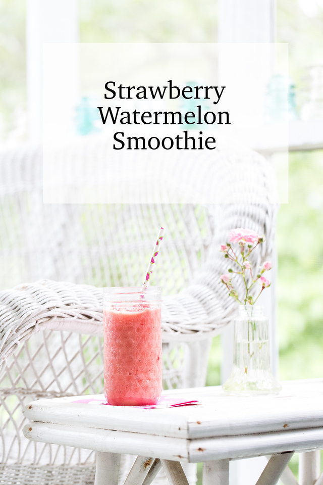 Pink smoothie on wicker furniture in screened in porch