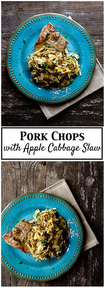 Pork Chops with Apple Cabbage Slaw - an easy sheet pan dinner!