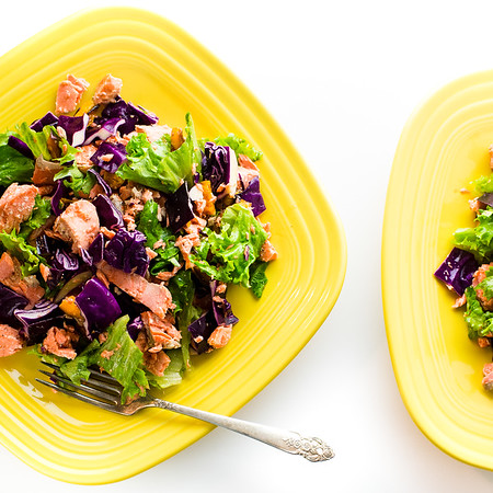 Roasted Salmon Salad on bright yellow plates