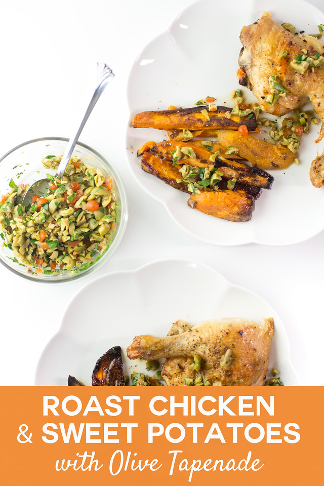 plate of chicken and sweet potatoes with a bowl of green tapenade with text overlay