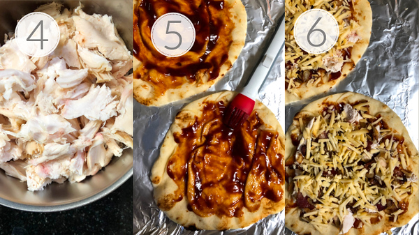 Steps 4, 5, and 6 for making a naan pizza.