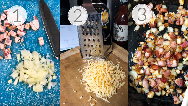 Photo collage showing the first 3 steps to make flatbread pizza.