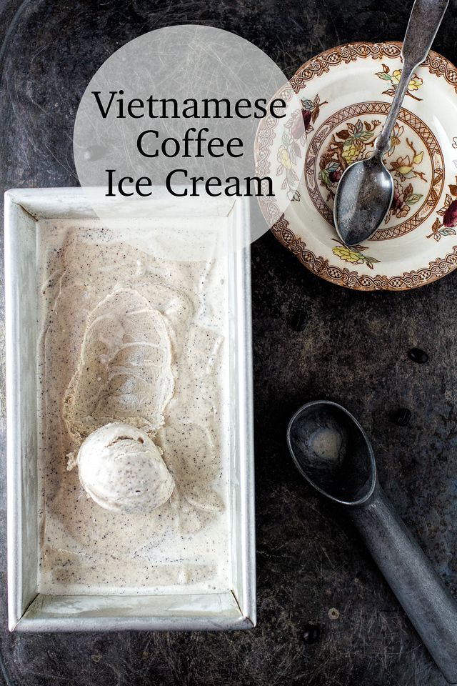 Vietnamese coffee ice cream in a metal container with ice cream scoop dish and spoon