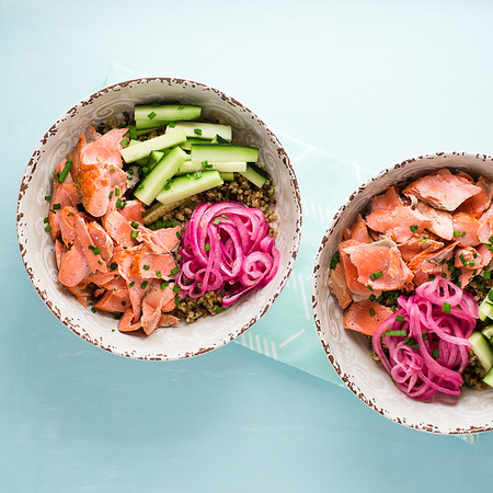 Two Bowls of Salmon with Gingered Quinoa