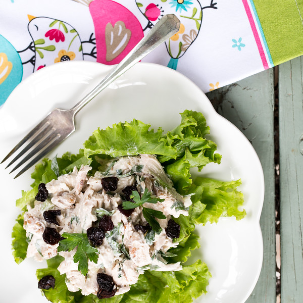 chicken salad on a scalloped plate