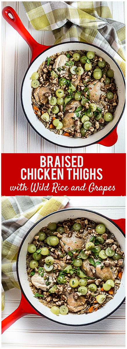 Braised Chicken Thighs with Wild Rice and Grapes - an easy one pan meal! #bonelesschickenthighs #wildrice #onepan #grapes