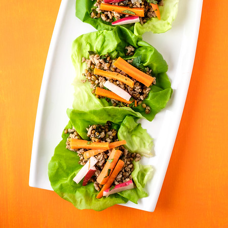 Plate of instant pot pork lettuce wraps