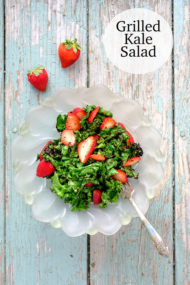Plate of kale salad with the text Grilled Kale Salad