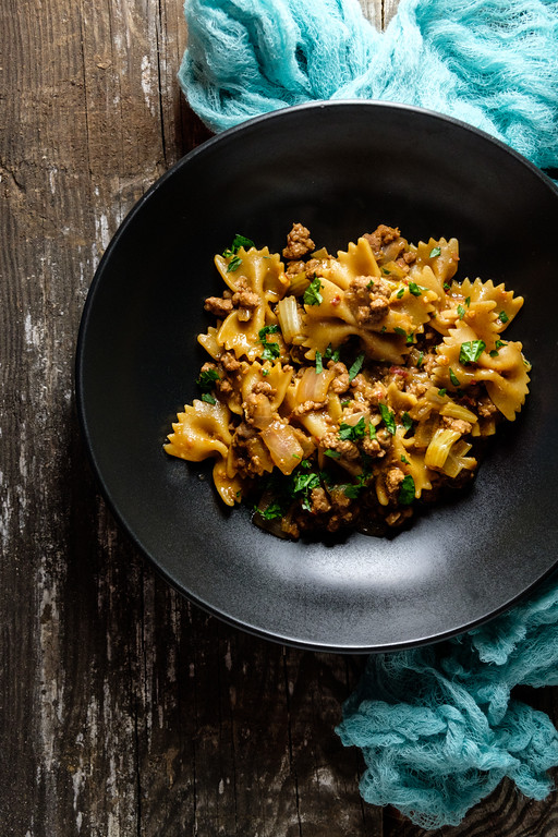 Ground Pork and Pasta cooked in the Instant Pot