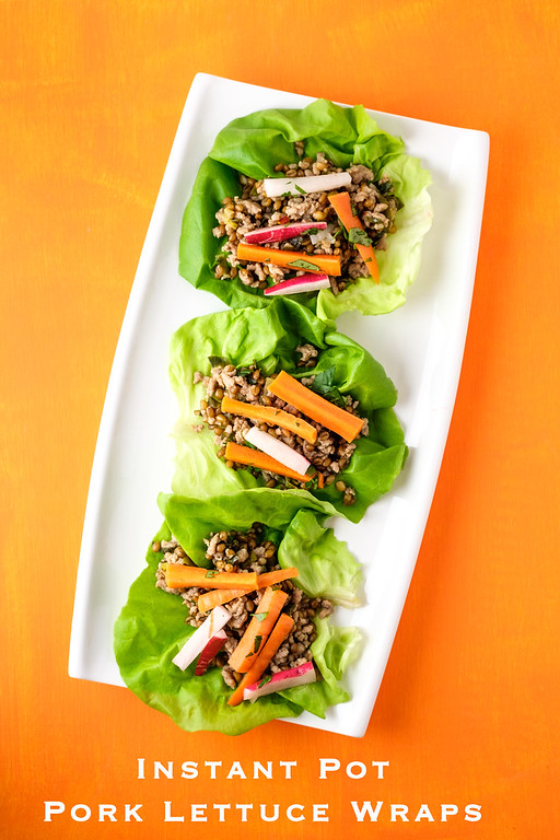 Instant Pot Pork Lettuce Wraps with whole grain goodness from wheatberries