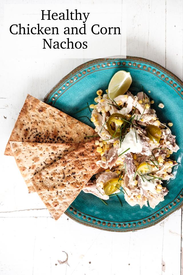 Blue plate topped with chicken nachos and text overlay reading Healthy Chicken and Corn Nachos