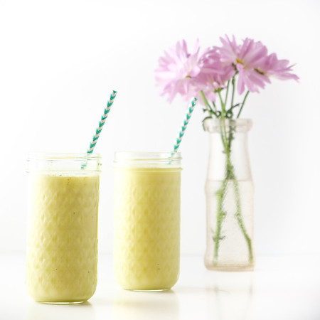 Bright yellow smoothie