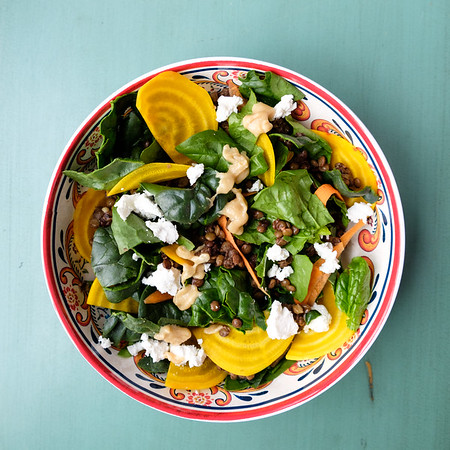 Bowl with colorful beet salad