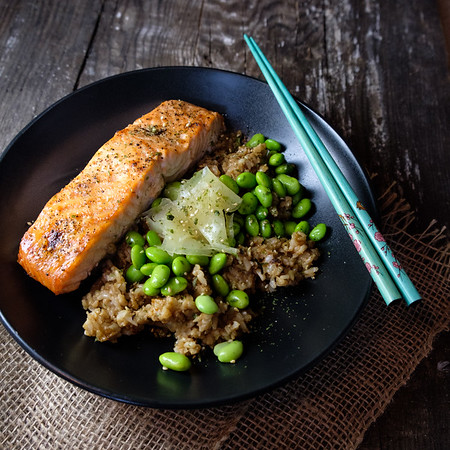 Edamame Brown Rice Bowl with Salmon