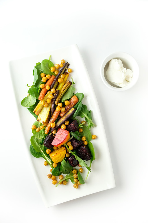 Beet, Carrot and Chickpea Salad on a long plate