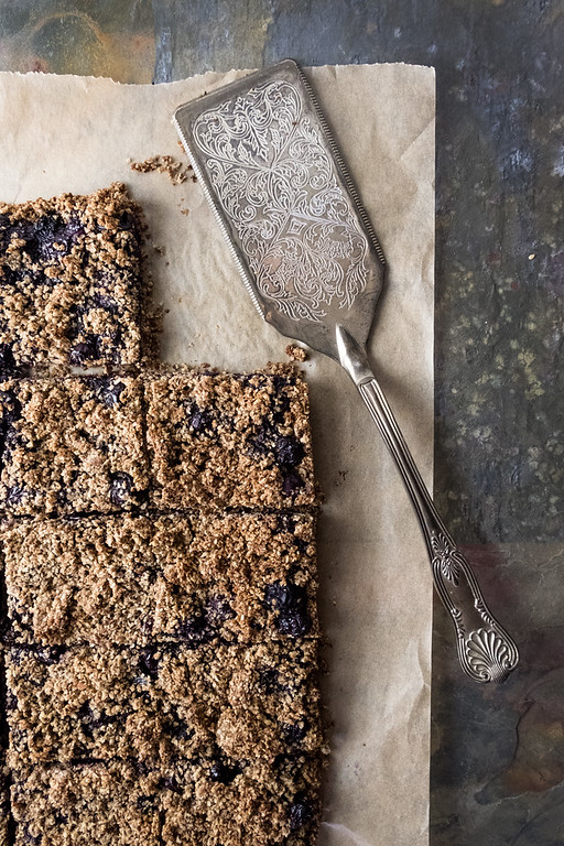 Oat Bran Blueberry Crumble - made even healthier with chia seeds, flax seeds and sunflower seeds.